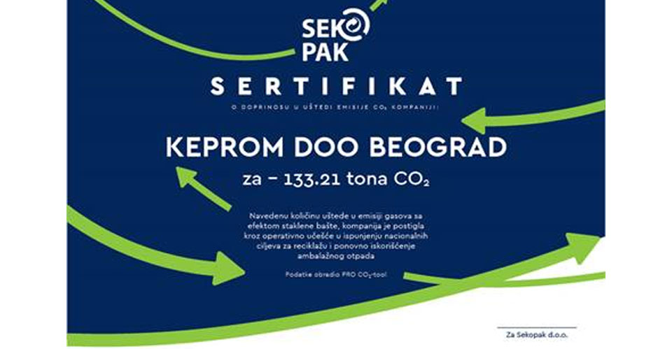 In 2019, Keprom saved over 133 tons of CO2 from recycling packaging waste